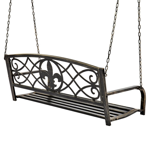 Farm Home Bronze Sturdy 2 Seat Porch Swing Bench Scroll Accents - YourGardenStop