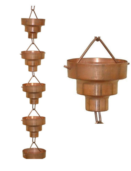 Pure Copper 8.5-Ft Long Rain Chain with Wide Mouth Funnel Cups - YourGardenStop