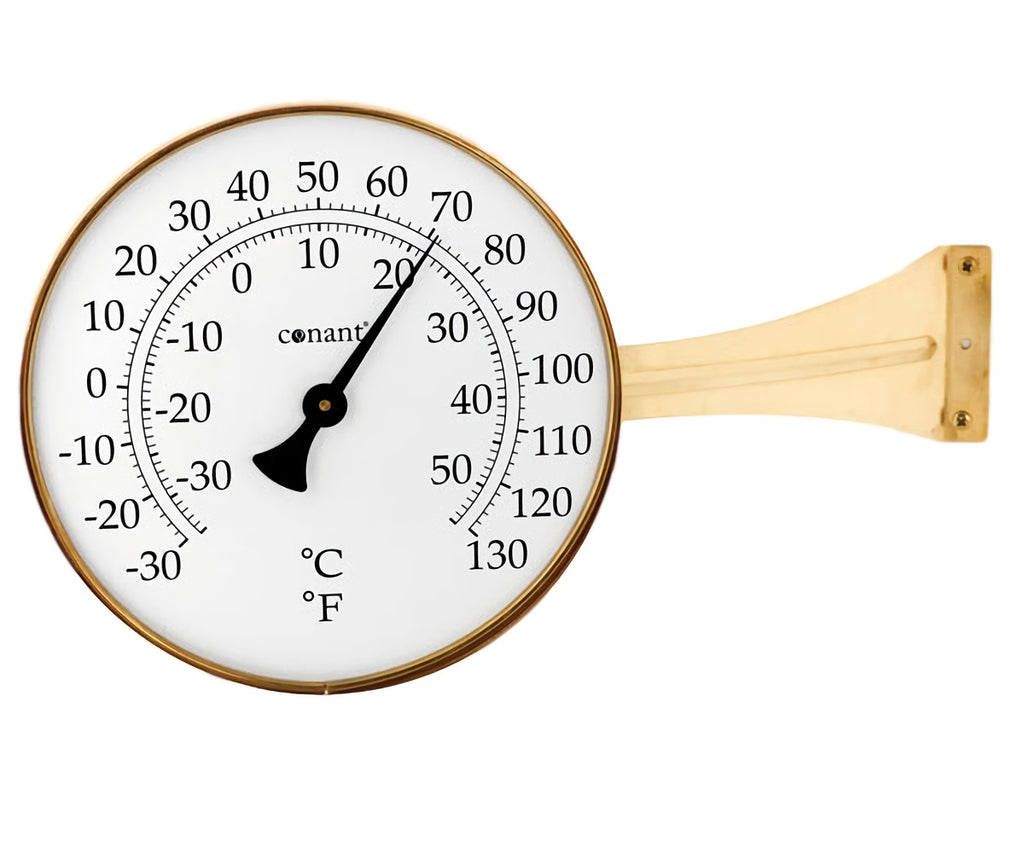 "Vermont Large 8.25"" Dial Thermometer Living Finish Brass"