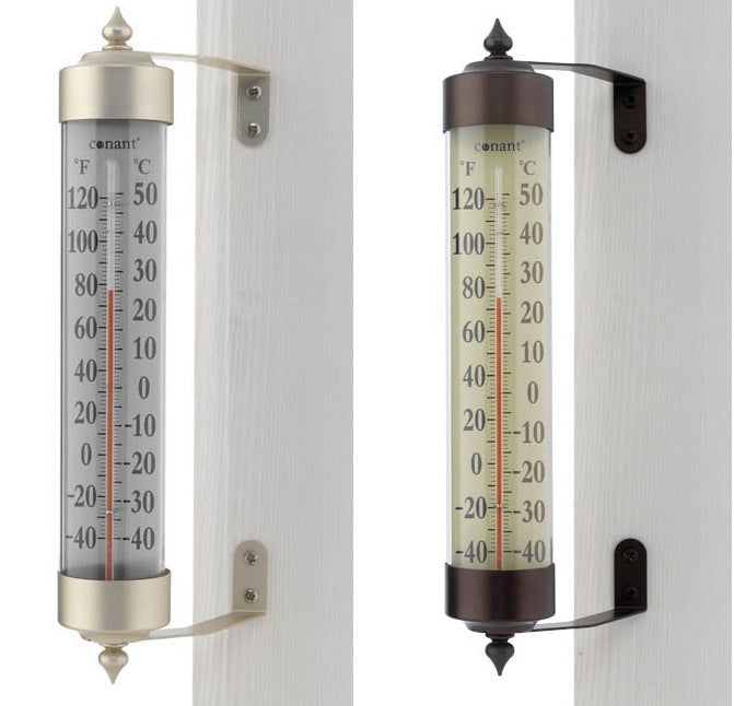 "Conant 12.25"" Grande View Thermometer (Bronze or Satin) - YourGardenStop"