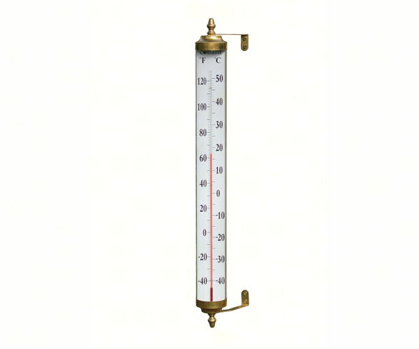"Grande View Thermometer 24"" in Living Finish Brass - YourGardenStop"