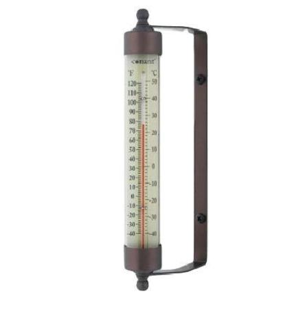 "Indoor Outdoor 7.5"" Thermometer Bronze Patina or Satin Nickel Finish - YourGardenStop"