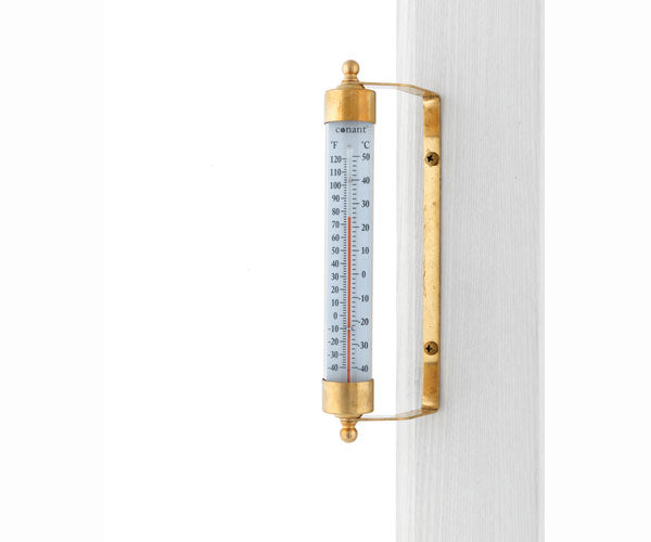 Vermont Indoor Outdoor Thermometer Living Finish Brass - YourGardenStop