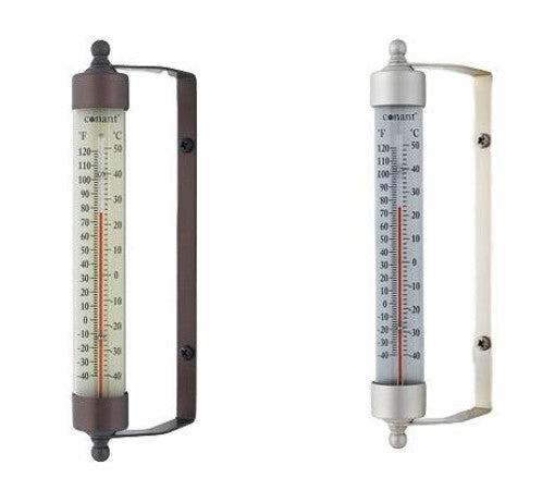 "Indoor Outdoor 7.5"" Thermometer Bronze Patina or Satin Nickel Finish"