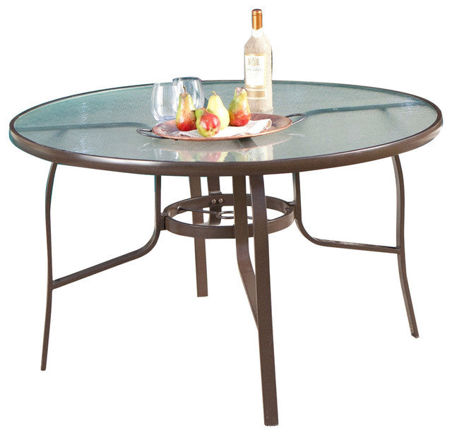 48-inch Round Glass-Top Outdoor Patio Dining Table - YourGardenStop