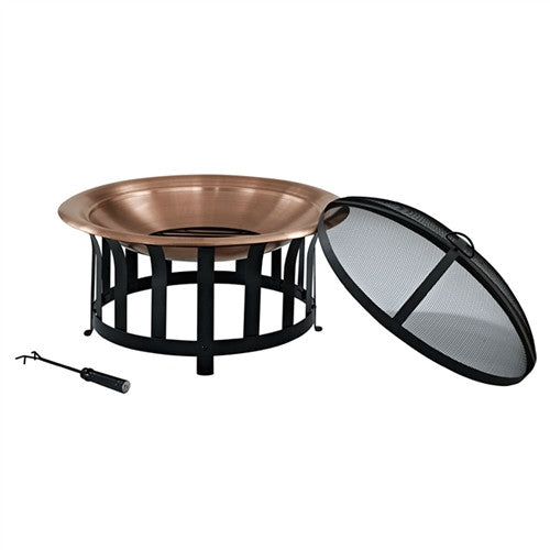 Copper 30-inch Fire Pit with Black Steel Frame and Lid