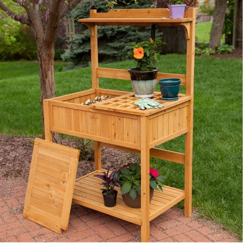 Natural Wood Potting Bench Garden Table with Bottom Shelf - YourGardenStop