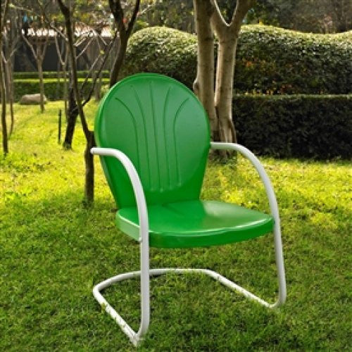 Contemporary Outdoor Dining Arm Chair in UV Resistant Steel - Green - YourGardenStop