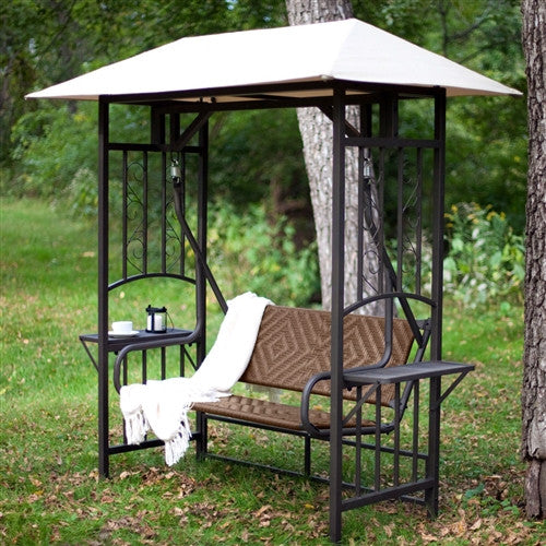 2-Person Natural Brown Resin Wicker Gazebo Canopy Porch Swing Glider - YourGardenStop