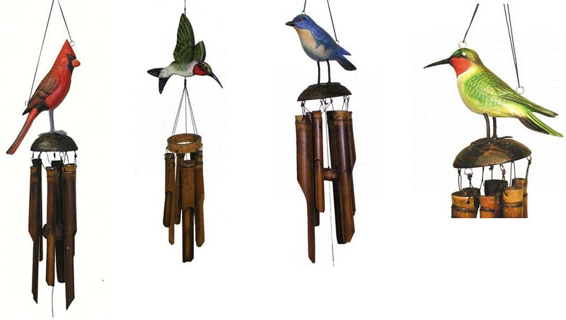 Bamboo Wind Chime by Cohasset Gifts (Cardinal,Bluebird,Hummingbird) - YourGardenStop