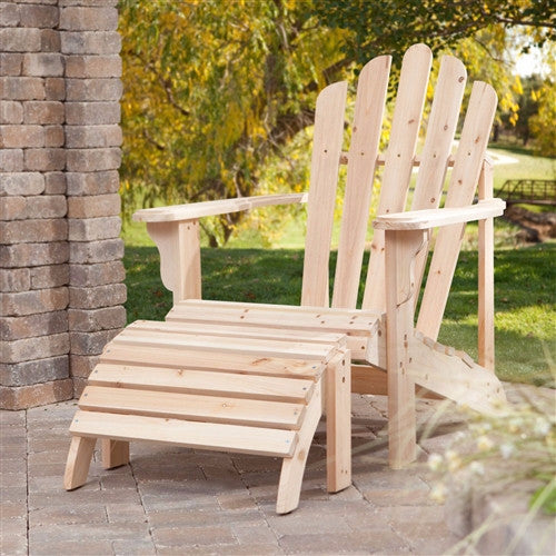 Weather Resistant Unfinished Fir Wood Adirondack Chair and Ottoman Set - YourGardenStop