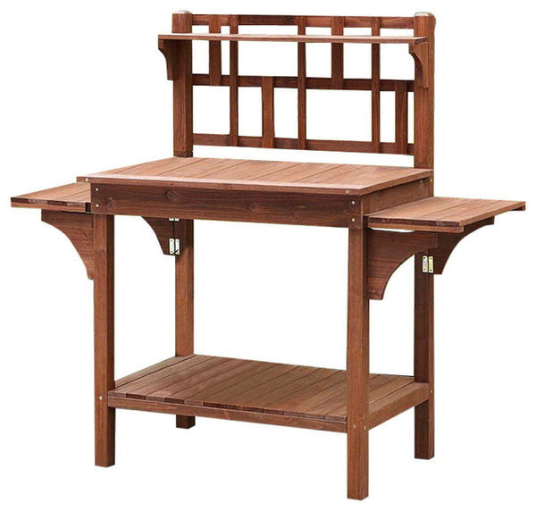 Solid Wood Potting Bench with Flip-up Sides & Shelfing - YourGardenStop