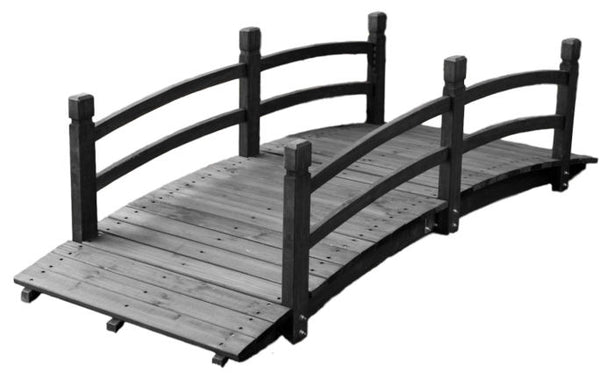 6-Ft Wooden Garden Bridge in Dark Charcoal - YourGardenStop