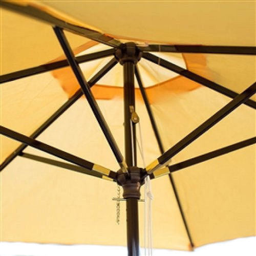 Outdoor Patio 9-Ft Wooden Market Umbrella with Yellow Shade Canopy - YourGardenStop