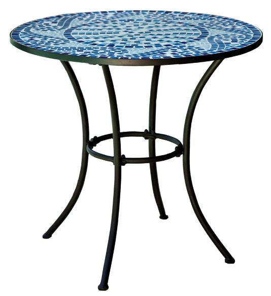 30 Inch Round Metal Bistro Patio Table With Blue Tiles   YourGardenStop