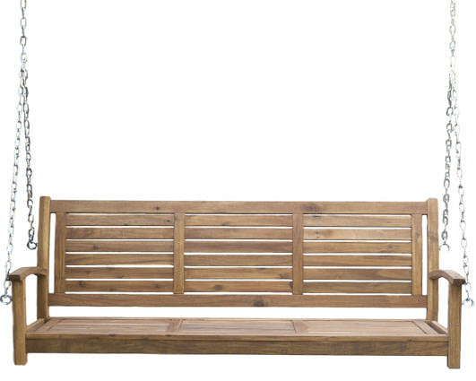 5 Ft Slatted Porch Swing in Natural Acacia Wood with Hanging Chain - YourGardenStop