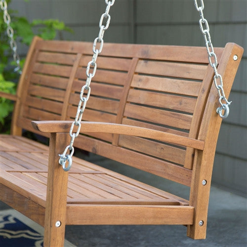 5 Ft Slatted Porch Swing in Natural Acacia Wood with Hanging Chain