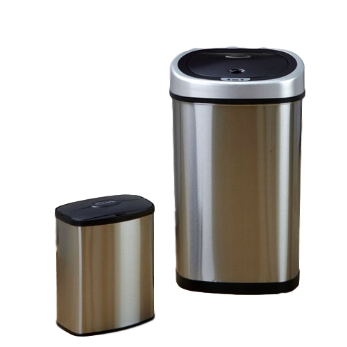 Set of 2 - Stainless Steel Touchless Trash Cans in 2 and 13 Gallon sizes - YourGardenStop