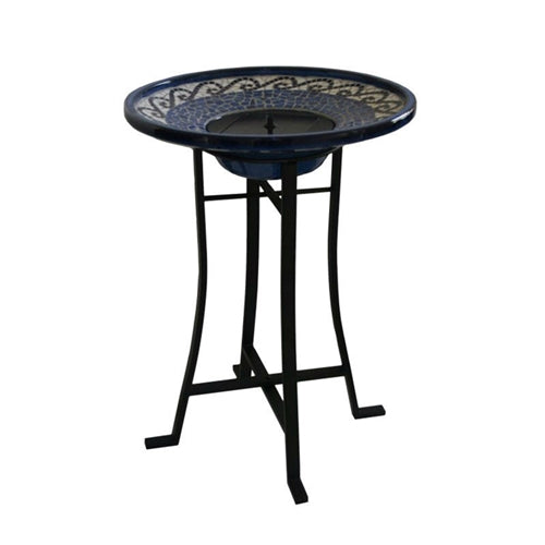 Outdoor Ceramic Bowl Fountain Bird Bath w/Metal Stand & Solar Pump - YourGardenStop