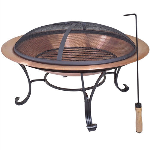 "Large 29"" Outdoor Fire Pit in 100% Solid Copper w/Screen Cover - YourGardenStop"
