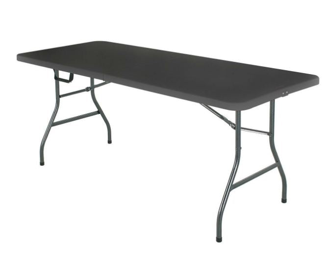 Black 6 Ft Centerfold Folding Table With Weather Resistant Top