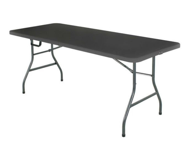 Black 6 Ft Centerfold Folding Table with Weather Resistant Top - YourGardenStop