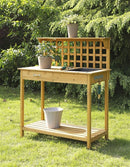 Natural Wood Finish Potting Bench with Trellis Shelving and Sink - YourGardenStop