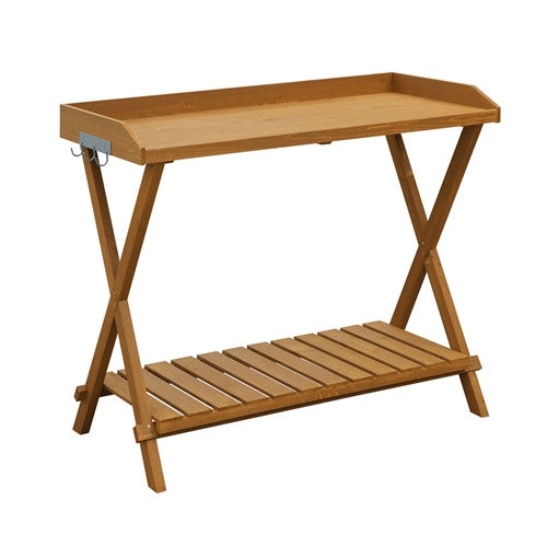 Outdoor Folding Garden Table Potting Bench with Slatted Bottom - YourGardenStop