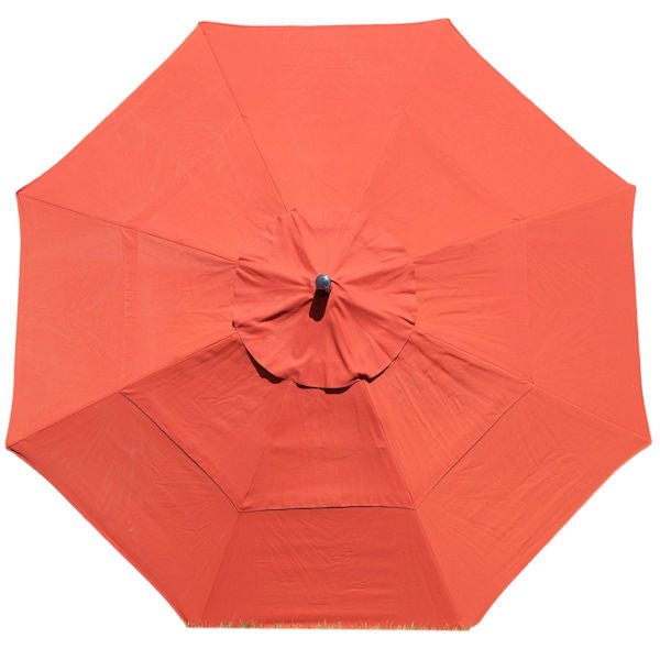 11-Ft Market Umbrella with Push Button Tilt with Brick Red Orange Shade - YourGardenStop