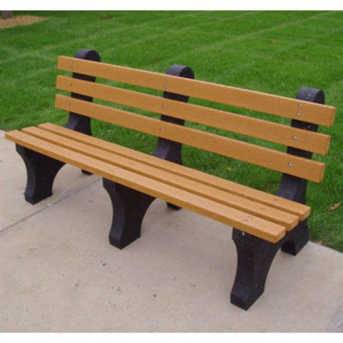 Eco-Friendly Plastic Commercial Grade Park Bench Cedar Color - YourGardenStop