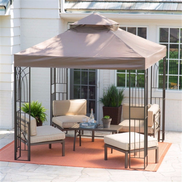8'x 8' Steel Metal Frame Gazebo w/Outdoor Weather Resistant Top Canopy - YourGardenStop