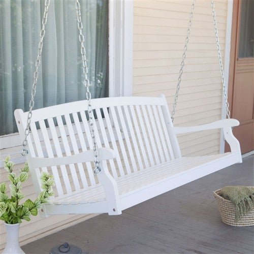 Curved Back 5-Ft Porch Swing in White Wood Finish