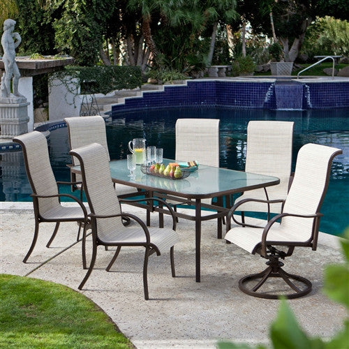 Rectangular Glass Top Patio Dining Table with Mocha Brown Frame 72 x 42 inch - YourGardenStop