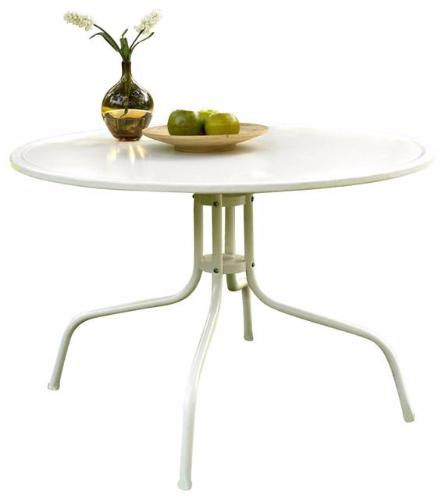 Round Patio Dining Table in White Outdoor UV Resistant Metal - YourGardenStop