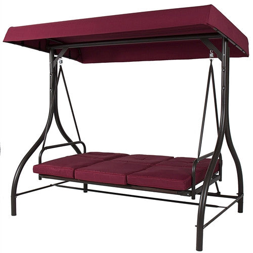 Burgundy Outdoor Patio Deck Porch Canopy Swing with Cushions