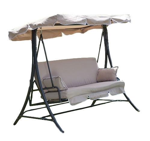 3-Person Canopy Swing Porch Patio Furniture in Taupe - YourGardenStop