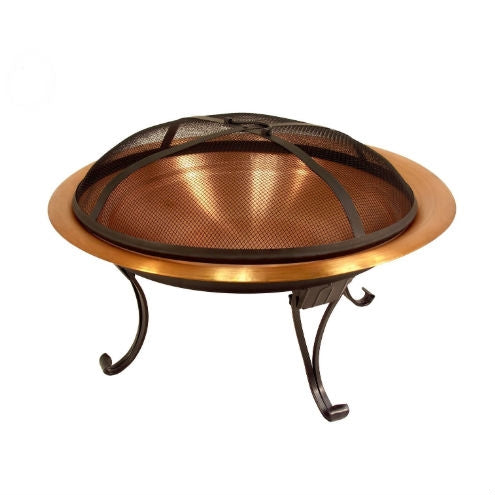 Copper Fire Pit with Folding Stand Spark Screen and Carrying Case
