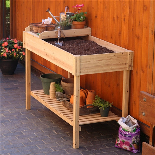 Potting Bench Garden Planting Table in Unfinished Cedar Wood - YourGardenStop