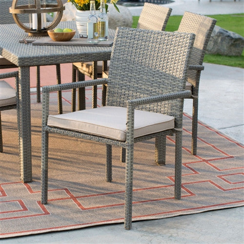 Natural Weather Resistant Resin Wicker Patio Dining Chair Arm