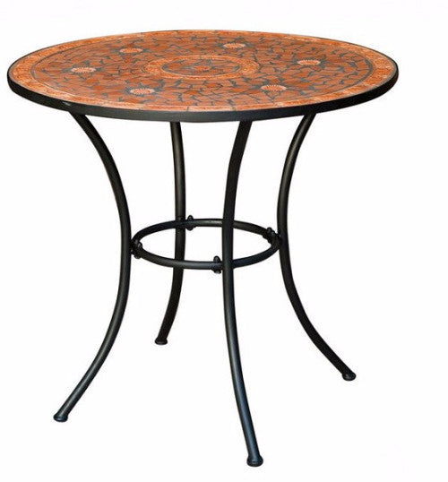 Round Patio Bistro Table with Terracotta Mosaic Tiles
