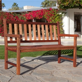 4-Foot Outdoor Wood Patio Garden Bench with Armrest