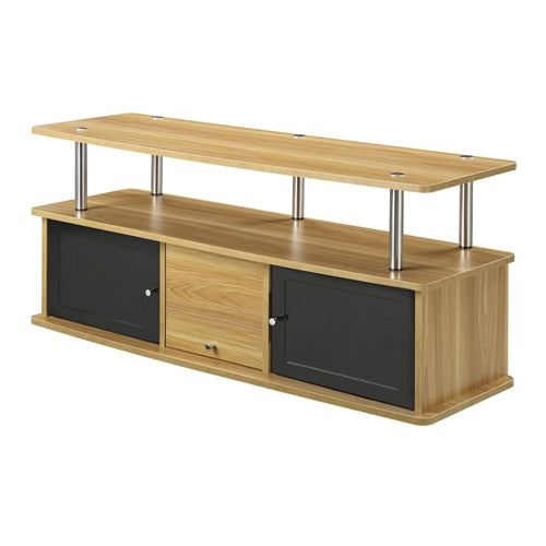 Modern 50 inch TV Stand in Light Oak Black Wood Finish - YourGardenStop