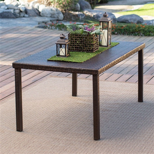 Dark Brown 63-inch Outdoor Resin Wicker Rectangular Patio Dining Table - Seats 6 - YourGardenStop