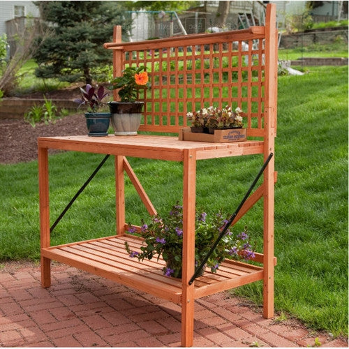 Outdoor Weather Resistant Fir Wood Potting Bench Garden Table with Lattice Back - YourGardenStop