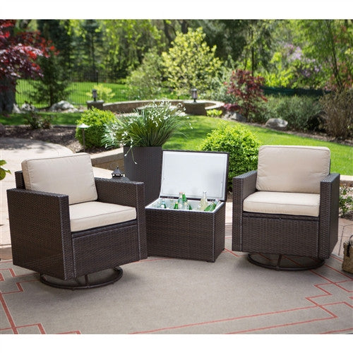 3-Piece Patio Furniture Set w/2 Chairs & Cooler Storage Side Table