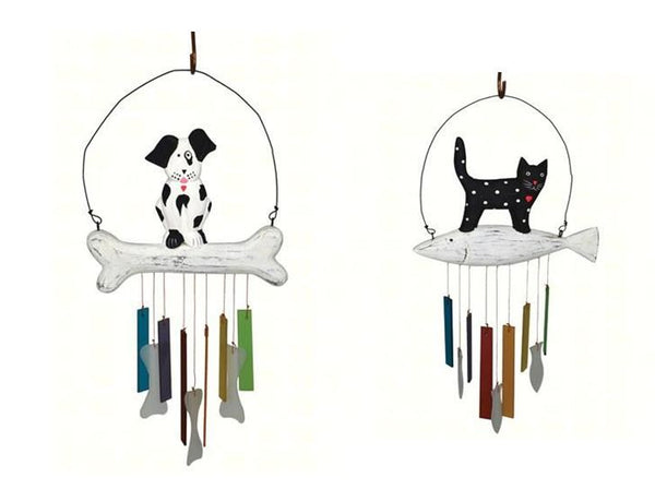 Wood & Glass Animal Wind Chime (Dog or Cat) - YourGardenStop