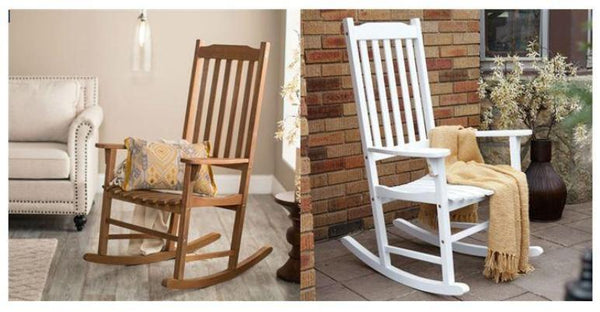 Indoor/Outdoor Patio Porch Natural Slat Rocking Chair