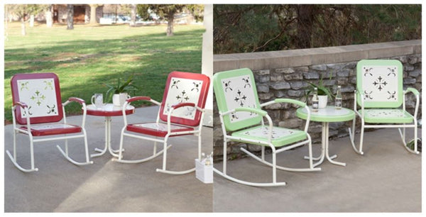 Retro Patio 3 Piece Metal Rocker Rocking Chair Set