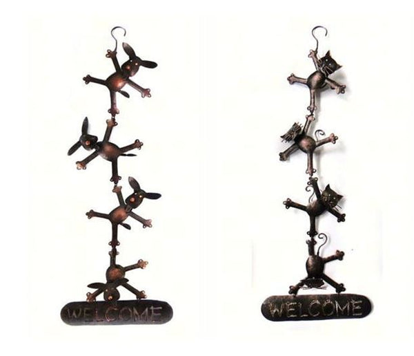 Metal Hanging Welcome Sign (Dancing Dogs & Cats) - YourGardenStop