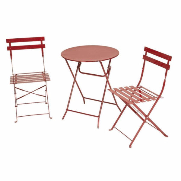 Red 3-Piece Folding Bistro-Style Table and Chairs Set - YourGardenStop